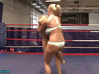 Two Busty Blondes Wrestle