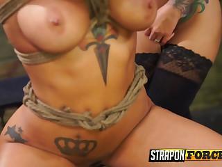 Tattooed slut enjoying sex toy play