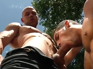 Two Muscled Hunks Fucking Outdoor