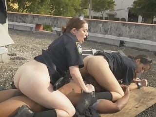 Naughty female cops are showing the public how to enjoy monster black cocks