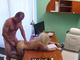 Tattooed Blonde Loves Doctor's Dick
