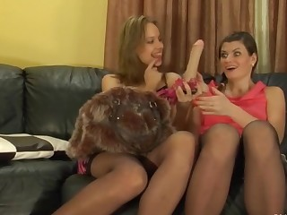 Irene and Gloria playful anal lesbian action
