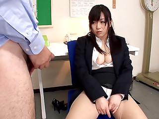 Hot teacher Nozomi Hazuki sucking a fat pecker