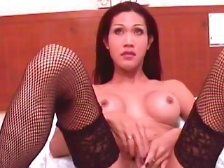 Shy ladyboy gets fucked between her big round tits and cums