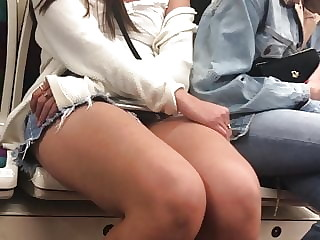 Sexy girl in subway skirt
