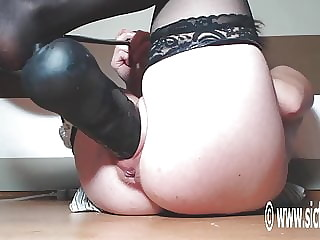 XXL Dog Dick and Inflatable Dildo fuck