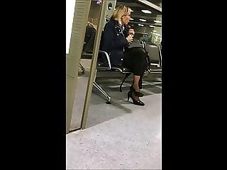 cabin crew with shiny nylon socks and high heels