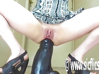 Fucking Her Prolapsing Ass With a Colossal Dildo