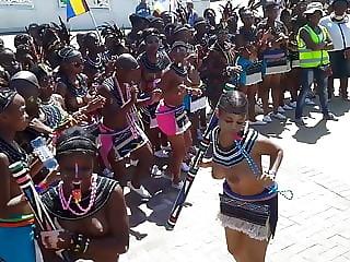 Topless Zulu girls dancing in the street