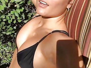 Jade Chynoweth in bikini getting sun