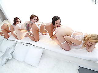 Gaping, Spitting Lesbian Anal Foursome